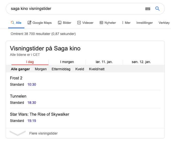 Featured snippet fra Google